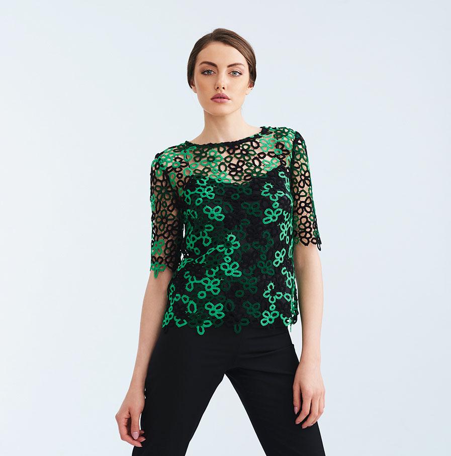 Stylish green & black lace blouse - Lila Style House